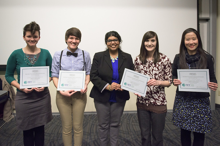 From left, Karie Whitman, Rebecca Totton, Enakshi Roy, Steffi Shook and Porsche Ruengvirayudh pose following the 3 Minute Thesis Competition held in Stocker Center on February 15, 2017.