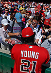 23 September 2007: Washington Nationals first baseman Dmitri Young signs autographs prior to the historic last professional baseball game played at Robert F. Kennedy Memorial Stadium in Washington, DC. The Nationals defeated the visiting Philadelphia Phillies 5-3 to close out the home season at RFK.. .Mandatory Photo Credit: Ed Wolfstein Photo