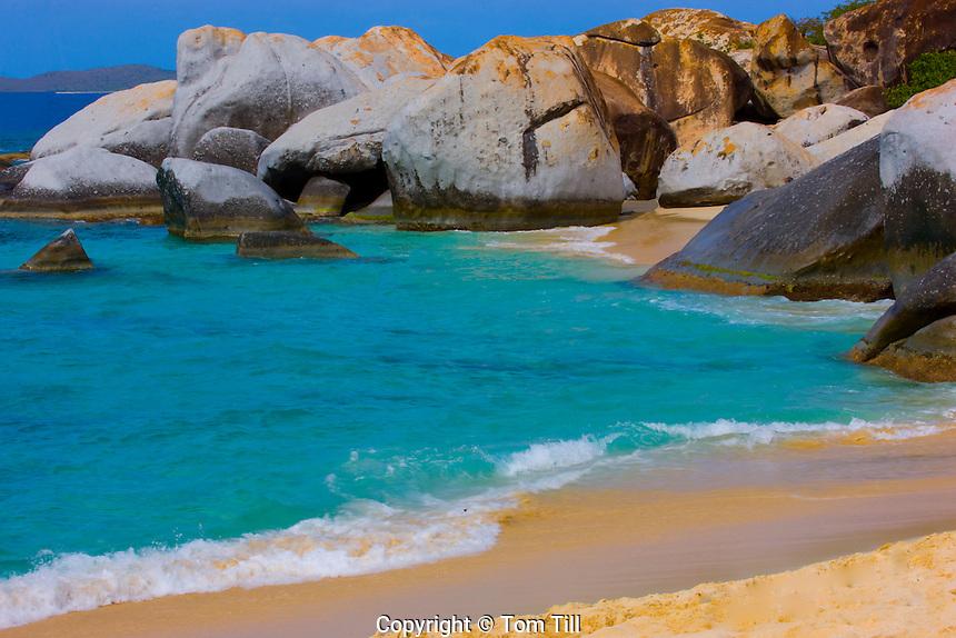 Small beach between boulders  The Baths, Virgin Gorda, British Virgin Islands  The Baths National Park, Caribbean Sea