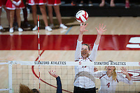 STANFORD, CA - October 14, 2016: Merete Lutz,Kelsey Humphreys,Kathryn Plummer at Maples Pavilion. The Arizona Wildcats defeated the Cardinal 3-1.