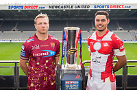 Picture by Allan McKenzie/SWpix.com - 15/05/2017 - Rugby League - Dacia Magic Weekend 2017 Preview - St James Park, Newcastle, England - Huddersfield's Ryan Hinchcliffe & Catalans's Brayden Wiliame with the Betfred Super League trophy ahead of their Magic Weekend game.