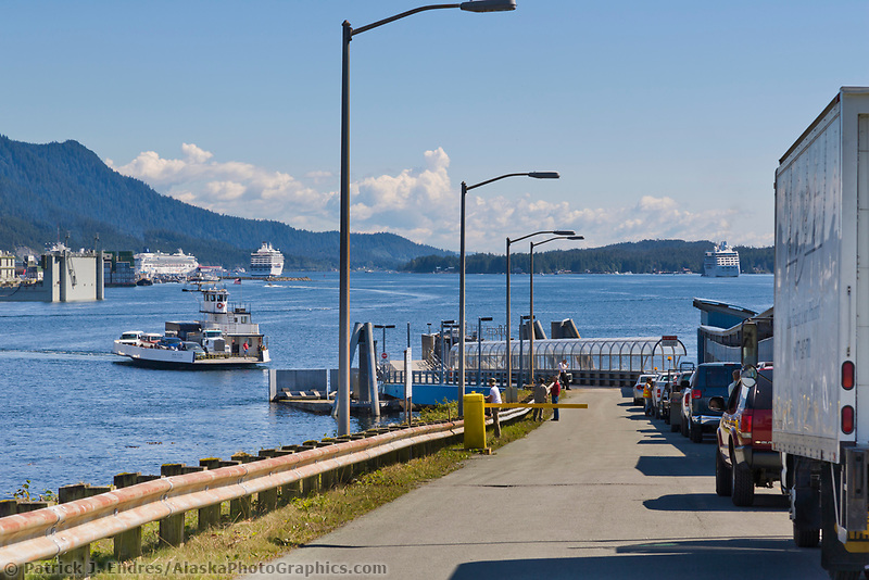 Vehicles wait to take the Ferry from Gravina Island to the city of Ketchikan, southeast, Alaska.
