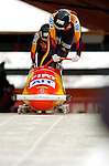 18 November 2005: Susi-Lisa Erdmann pilots Germany 2 to a 4th place finish at the 2005 FIBT AIT World Cup Women's Bobsleigh Tour at the Verizon Sports Complex, in Lake Placid, NY. Mandatory Photo Credit: Ed Wolfstein.