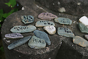 Messages of Peace written on stones in the Epicentre Park, Tuesday May 24th 2005, marking the epicentre of the atomic bomb blast on 9th August 1945 of the second atomic bomb to fall on Japan.