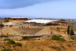 Travel stock photo of a View on the Theatre and a protective structure over archeological dig at Kourion Archaeological Site in Cyprus Spring 2007 Horizontal