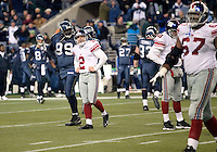 27 Nov 2005:   New York Giants kicker Jay Feeley walks off the field after missing his third game wining attempted field goal against the Seattle Seahawks at Qwest Field in Seattle, Washington.