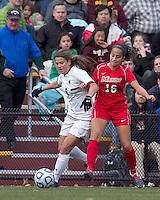 Boston College forward Stephanie McCaffrey (9) and Marist College midfielder Samantha Panzner (16) battle for the ball. Boston College defeated Marist College, 6-1, in NCAA tournament play at Newton Campus Field, November 13, 2011.