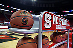 03 November 2016: A rack of balls sits courtside for pregame warmups. The North Carolina State University Wolfpack hosted the Lynn University Fighting Knights at PNC Arena in Raleigh, North Carolina in a 2016-17 NCAA Division I Men's Basketball exhibition game. NC State won the game 100-66.