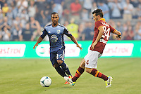 Sporting Park, Kansas City, Kansas, July 31 2013:<br /> Alessandro Florenzi (24) midfield AS Roma in action.<br /> MLS All-Stars were defeated 3-1 by AS Roma at Sporting Park, Kansas City, KS in the 2013 AT &amp; T All-Star game.