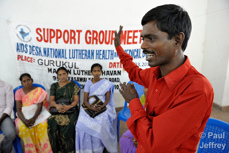 V. Vijaya participates in a support group for HIV positive people at the Gurukul  Lutheran Theological College in Chennai, India. (Note restriction on use in Special Instructions below.)