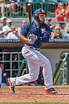 20 March 2015: Houston Astros first baseman Jon Singleton watches his hit sail for a double during Spring Training action against the Washington Nationals at Osceola County Stadium in Kissimmee, Florida. The Astros fell to the Nationals 7-5 in Grapefruit League play. Mandatory Credit: Ed Wolfstein Photo *** RAW (NEF) Image File Available ***