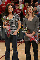 STANFORD, CA - FEBRUARY 7:  Members of the 1990 National Championship team reunite during Stanford's 77-39 win over USC on February 7, 2010 at Maples Pavilion in Stanford, California. Pictured are Jennifer Azzi and Molly Goodenbour.