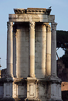 Temple of Vesta, round shaped building which remains now visible belong to the reconstruction by the wife of Septimus Severus, Julia Domna, after the fire of 191 AD, Roman Forum, Rome, Italy, Europe.
