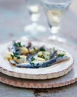 """Europe/France/Languedoc-Roussillon/66/Pyrénées-Orientales/Banyuls-sur-Mer: anchois marinés - Recette de Jean-Marie Patrouix chef du restaurant """"La Littorine"""""""