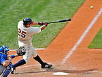14 September 2008: Cleveland Indians' first baseman Ryan Garko in action against the Kansas City Royals at Progressive Field in Cleveland, Ohio. The Royal defeated the Indians 13-3 to take the 4-game series three games to one...Mandatory Photo Credit: Ed Wolfstein Photo