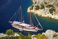 Antalya, Turkey, October 2005. Tersane Island used to be inhabited by both lycians and Byzantines. Sailing the Turkish coast in a wooden Gulet takes one along the most beautiful stretches of the Mediterranean. Small fishing villages, ancient Lycian and Byzantine ruins are scattered in the mountainous landscape lined by tranquil beaches and small islands. Photo by Frits Meyst / MeystPhoto.com