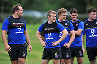 Jonathan Evans of Bath Rugby looks on. Bath Rugby training session on August 4, 2015 at Farleigh House in Bath, England. Photo by: Patrick Khachfe / Onside Images