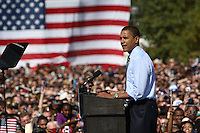 Democratic presidential candidate Barack Obama speaks during his American Jobs Tour Rally at Genoa Park in Columbus, Ohio, on Friday, Oct. 10, 2008. (Kevin Craiglow/pressphotointl.com)