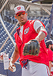 22 May 2015: Washington Nationals infielder Yunel Escobar tosses some ball prior to a game against the Philadelphia Phillies at Nationals Park in Washington, DC. The Nationals defeated the Phillies 2-1 in the first game of their 3-game weekend series. Mandatory Credit: Ed Wolfstein Photo *** RAW (NEF) Image File Available ***
