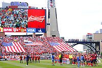 United States and Spain  players line up during the playing of the national anthem. The men's national team of Spain (ESP) defeated the United States (USA) 4-0 during a International friendly at Gillette Stadium in Foxborough, MA, on June 04, 2011.