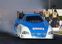 Nov 7, 2013; Pomona, CA, USA; NHRA funny car driver Terry Haddock during qualifying for the Auto Club Finals at Auto Club Raceway at Pomona. Mandatory Credit: Mark J. Rebilas-