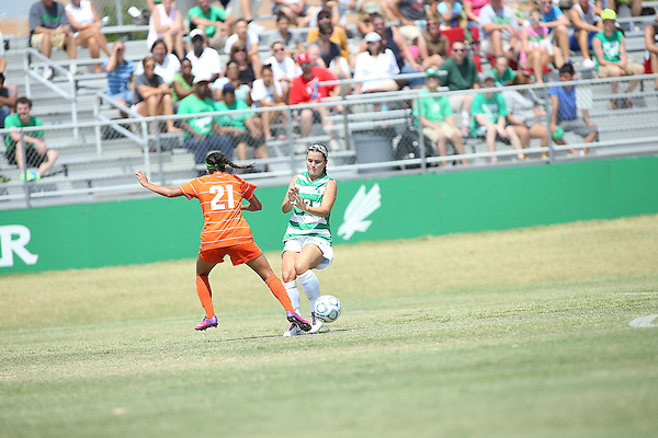 ARLINGTON, TX - AUGUST 25: Allison Guderian #13 of the North Texas Mean Green - Houston Baptist vs North Texas Mean Green Soccer at Mean Green Village Soccer Field in Denton on August 25, 2013 in Denton, Texas. Photo by Rick Yeatts