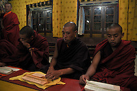 Lamas praying at Kharchhu Monastry, which is a Buddhist school and college. These lamas lead a very modest life and have simple food three times a day. Arindam Mukherjee....