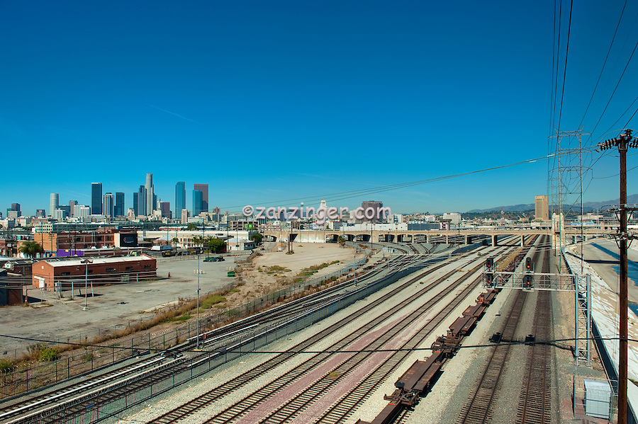 Fourth Street Concrete arch bridge, Los Angeles River, LA Skyline