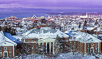 View above Waterman, UVM Campus, Burlington and Lake Champlain. Winter UVM Campus