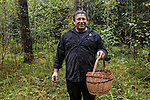 Vladimir Shashilov, a local hunter and guide, after a morning of searching for wild mushrooms in the rain on Saturday, August 24, 2013 in Suzdal, Russia.