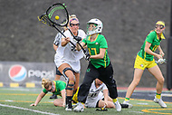 Towson, MD - March 25, 2017: Oregon Ducks Becca Katzen (17) passes the ball during game between Towson and Oregon at  Minnegan Field at Johnny Unitas Stadium  in Towson, MD. March 25, 2017.  (Photo by Elliott Brown/Media Images International)
