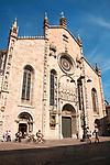 Facade of the Duomo Cathedral in Como, Italy on Lake Como