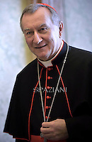 Cardinal Pietro Parolin;Pope Francis during a meeting with Seychelles President James Michel at the end of a private audience at the Vatican on April 30, 2015.
