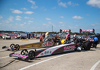 Oct 16, 2016; Ennis, TX, USA; NHRA top fuel driver Steve Torrence and Leah Pritchett during the Fall Nationals at Texas Motorplex. Mandatory Credit: Mark J. Rebilas-USA TODAY Sports