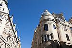 Hotel Paris, a striking and historic art nouveau hotel (on left) in Prague, Czech Republic, Europe