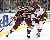 Kevin Hayes (BC - 12), Dan Ford (Harvard - 5) - The Boston College Eagles defeated the Harvard University Crimson 4-1 in the opening round of the 2013 Beanpot tournament on Monday, February 4, 2013, at TD Garden in Boston, Massachusetts.