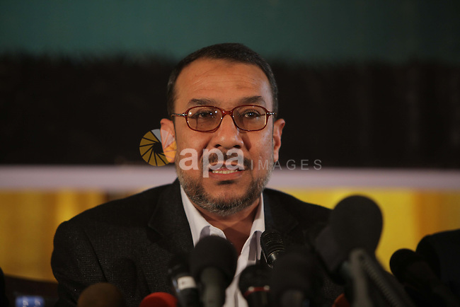 Palestinian official of the internal security agency in Gaza strip, Mohammad Lafi, speaks during a press conference to discuss the programs of the National Campaign against collaborating with Israeli in Gaza City, in March 12, 2013. Photo by Ashraf Amra