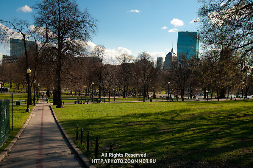 Freedon trail in Boston Common Park in spring and Boston skyline