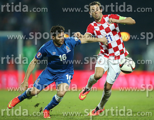 13.10.2014, Stadion Gradski vrt, Osijek, CRO, UEFA Euro Qualifikation, Kroatien vs Aserbaidschan, Gruppe H, im Bild Cavid Huseynov, Darijo Srna // during the UEFA EURO 2016 Qualifier group H match between Croatia and Azerbaijan at the Stadion Gradski vrt in Osijek, Croatia on 2014/10/13. EXPA Pictures &copy; 2014, PhotoCredit: EXPA/ Pixsell/ Igor Kralj<br /> <br /> *****ATTENTION - for AUT, SLO, SUI, SWE, ITA, FRA only*****