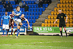 St Johnstone v Hearts.....18.01.14   SPFL<br /> Stevie May scores from the penalty spot<br /> Picture by Graeme Hart.<br /> Copyright Perthshire Picture Agency<br /> Tel: 01738 623350  Mobile: 07990 594431