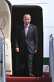 Mexican President Felipe Calderon arrives for the Nuclear Security Summit, at Andrews Air Force Base, Maryland, April 12, 2010..Credit: Kevin Dietsch / Pool via CNP