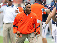 Virginia Cavaliers head coach Mike London reacts to a play during the game at Scott Stadium. Virginia was defeated 30-24. (Photo/Andrew Shurtleff)