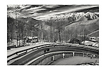 Feb 13, 2014<br /> Sochi, Russia   Olympic Winter Games<br /> <br /> Mountain cluster<br /> <br /> Sanki Sliding: home of Skeleton and BobSled<br /> Women Skeleton first round<br /> Men 2 man Bob sled, training<br /> pics of the athletes warming up, prepping the sleds<br /> overall view of Bob sleds passing Sochi logo on the track, with snow covered mountains behind.