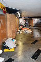 Homeless people sleeping in Metro, Budapest, Hungary, February 2017