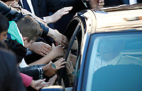 Pope Francis waves from his car as he leaves after his visit the Basilica of San Bartolomeo on the Tiber Island in Rome. April 22, 2017.<br /> UPDATE IMAGES PRESS/Isabella Bonotto - Pool<br /> <br /> STRICTLY ONLY FOR EDITORIAL USE