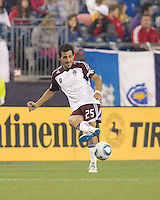 Colorado Rapids midfielder Pablo Mastroeni (25) passes the ball. In a Major League Soccer (MLS) match, the New England Revolution tied the Colorado Rapids, 0-0, at Gillette Stadium on May 7, 2011.