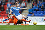 St Johnstone v Dundee United...26.09.15  SPFL   McDiarmid Park, Perth<br /> Liam Craig is tackled by Blair Spittal<br /> Picture by Graeme Hart.<br /> Copyright Perthshire Picture Agency<br /> Tel: 01738 623350  Mobile: 07990 594431
