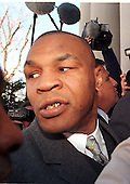 "Former Boxing World Heavyweight Champion Mike Tyson arrives at court in Rockville, Maryland for sentencing after pleading ""no contest"" for a road rage incident on February 5, 1999..Credit: Ron Sachs / CNP"