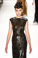 Bonnie Chen walks runway in a Monique Lhuillier Fall 2011 outfit, during Mercedes-Benz Fashion Week Fall 2011.