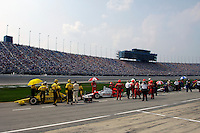 11 September, 2005, Joliet,IL,USA<br /> The cars stop along the pit lane during the red flag.<br /> Copyright&copy;F.Peirce Williams 2005